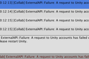 [Collab] ExternalAPI::Failure: A request to Unity accounts has failed with HTTP status 401 Unauthorized. というエラー